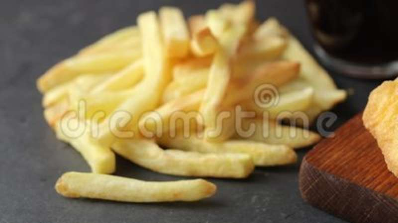 Chicken Nuggets With French Fries And Cola Stock Footage Video Of