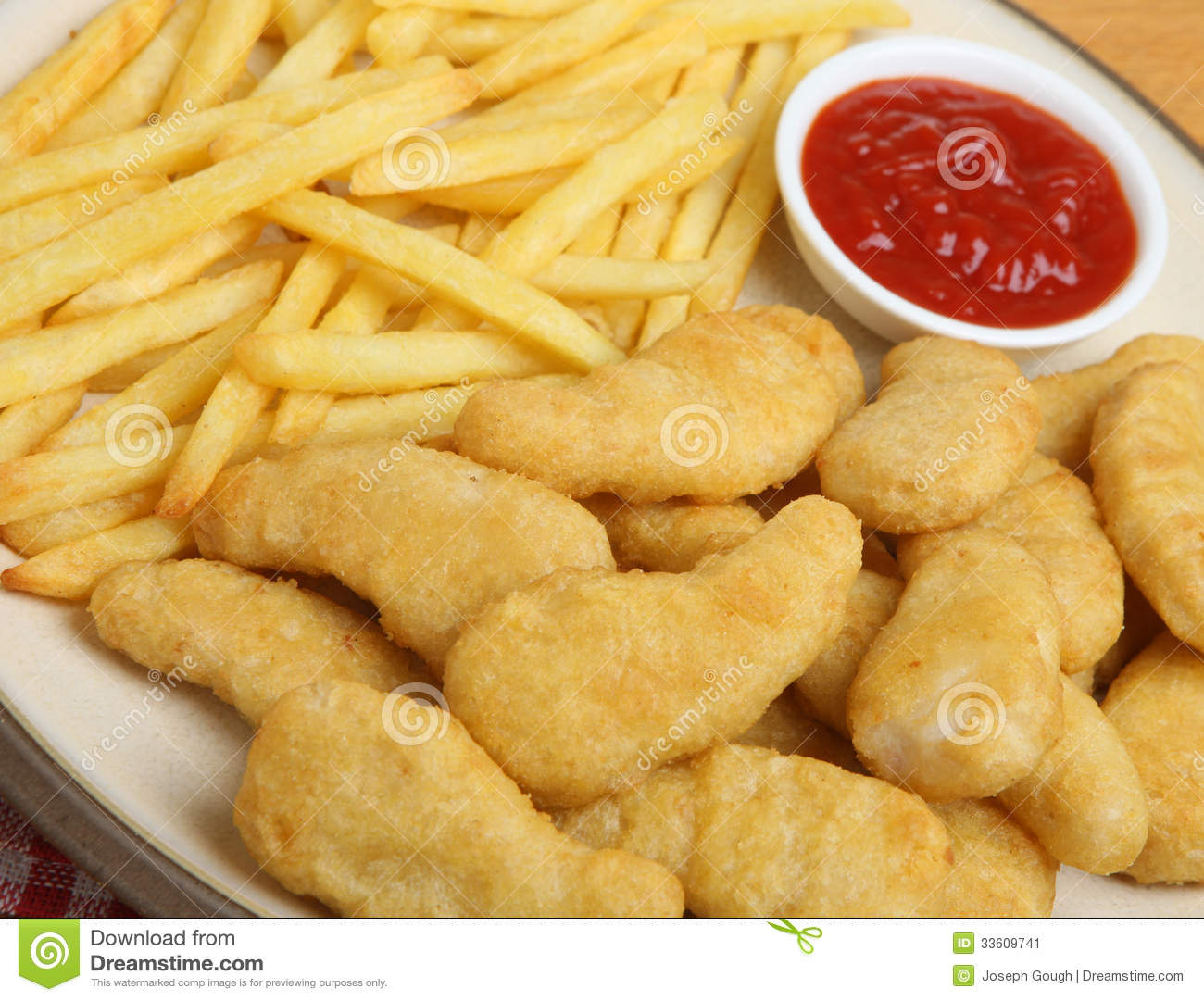Unhealthy Food Plate Chicken Nuggets With F...