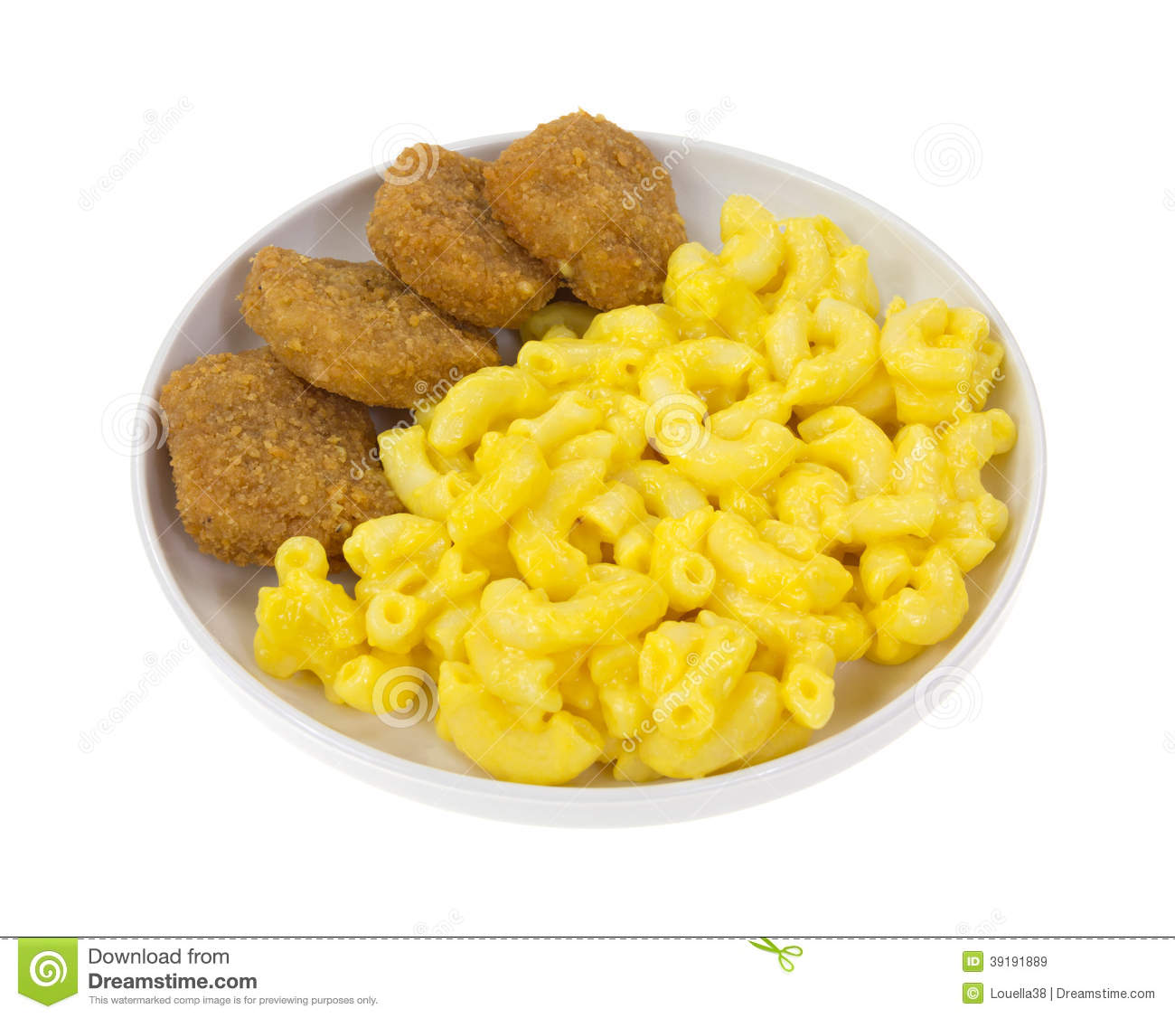 Chicken Nuggets Macaroni Cheese Stock Photo - Image: 39191889