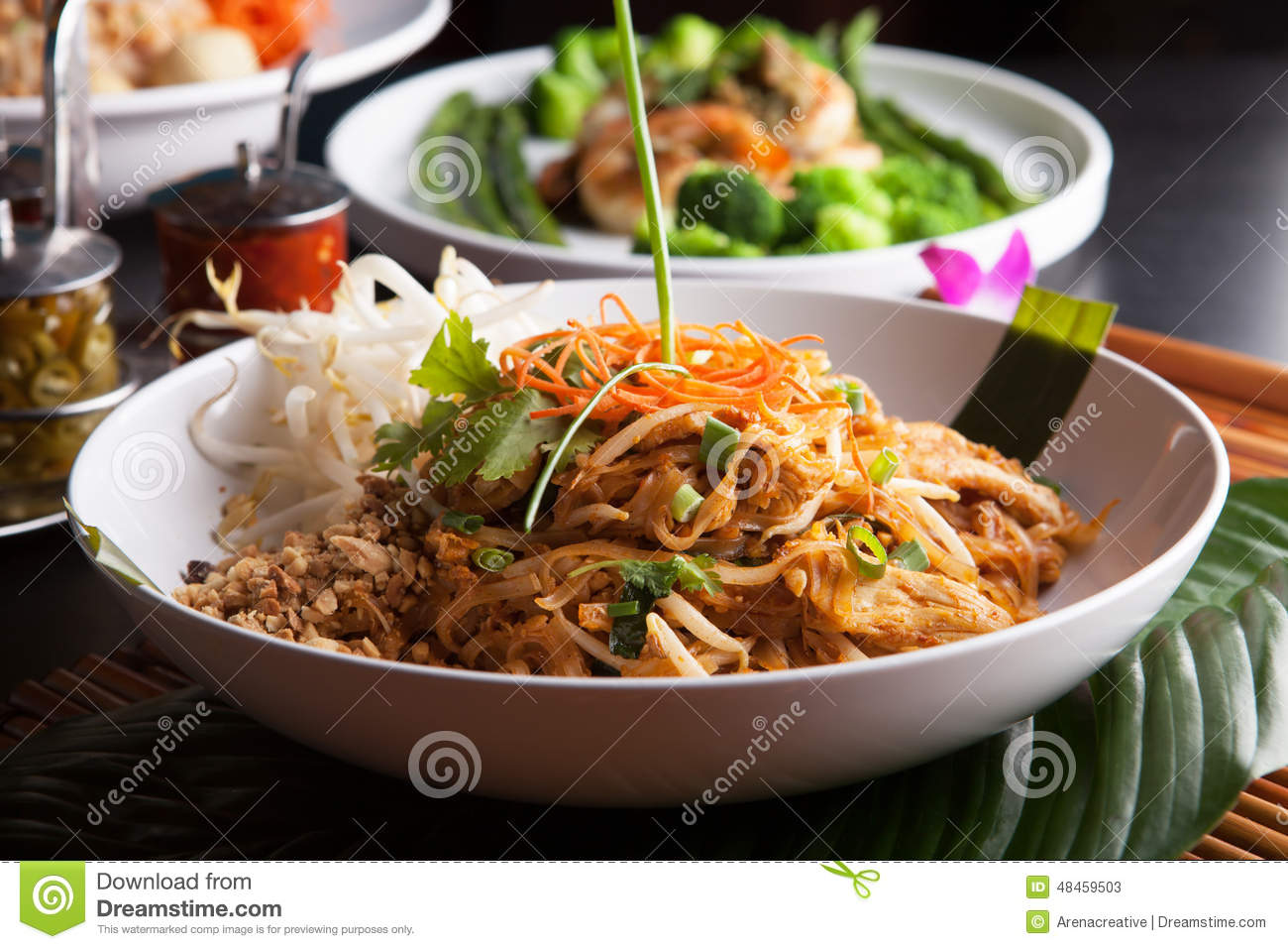 Chicken pad thai closeup stock image image of asian for Aroi fine thai japanese cuisine