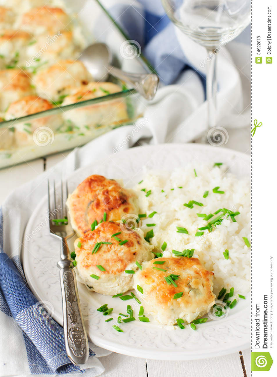 Chicken patties with chips royalty free stock photography for Creamy sauce served with fish