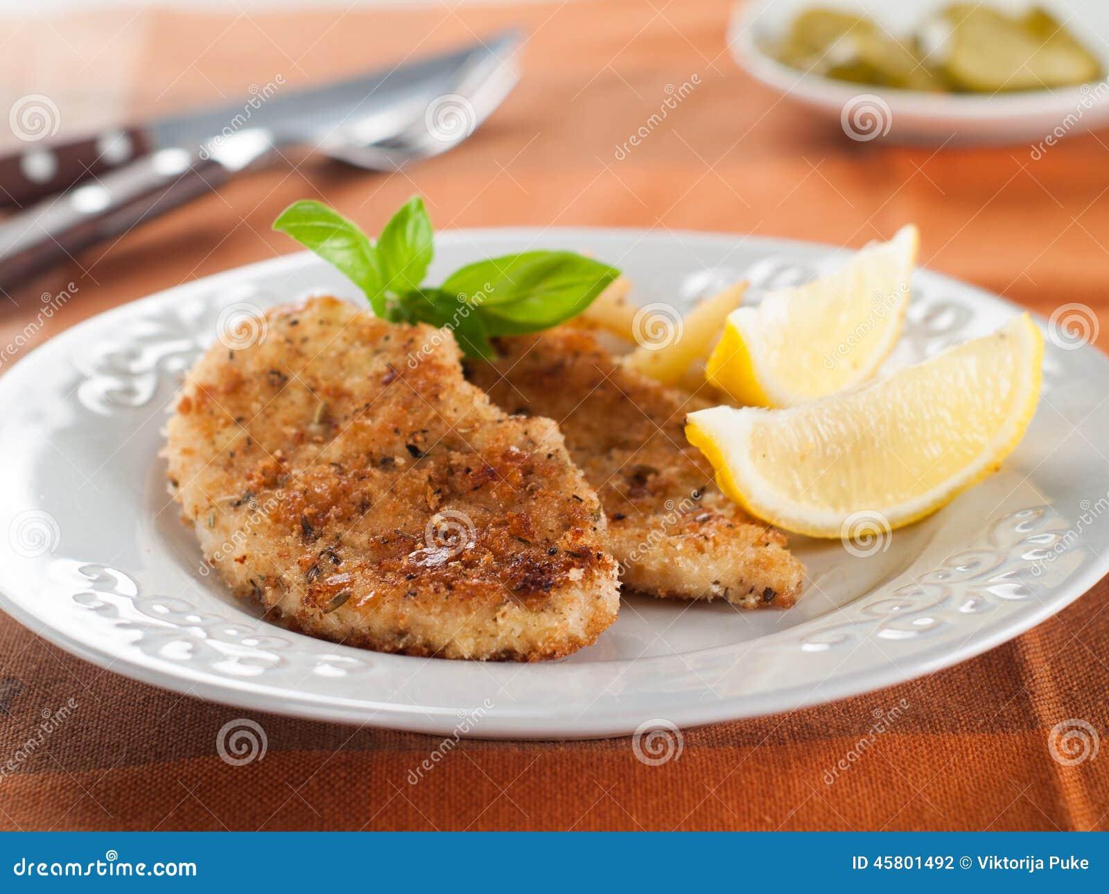 Chicken or pork schnitzel