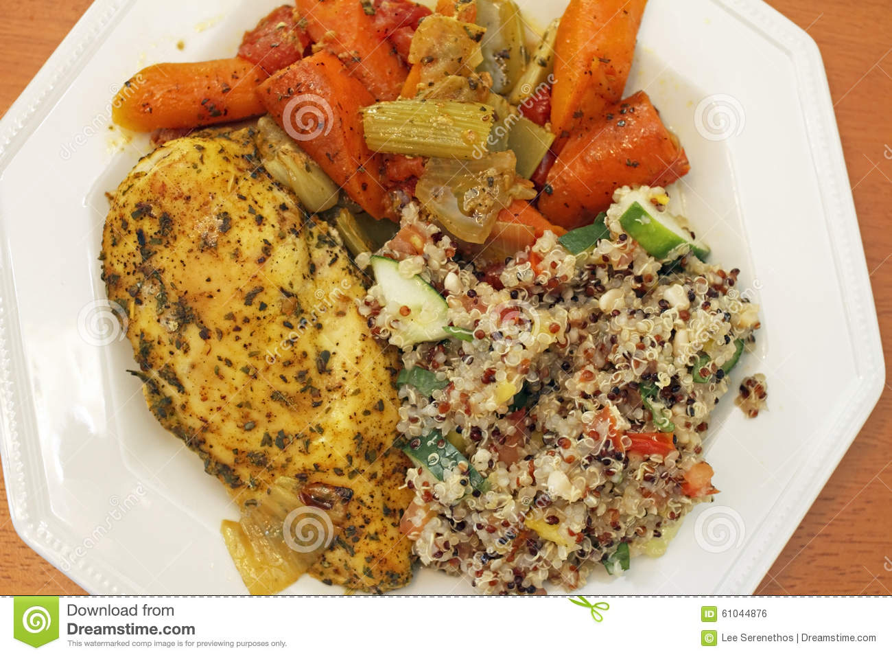 Chicken With Quinoa Salad And Vegetables Stock Photo - Image: 61044876
