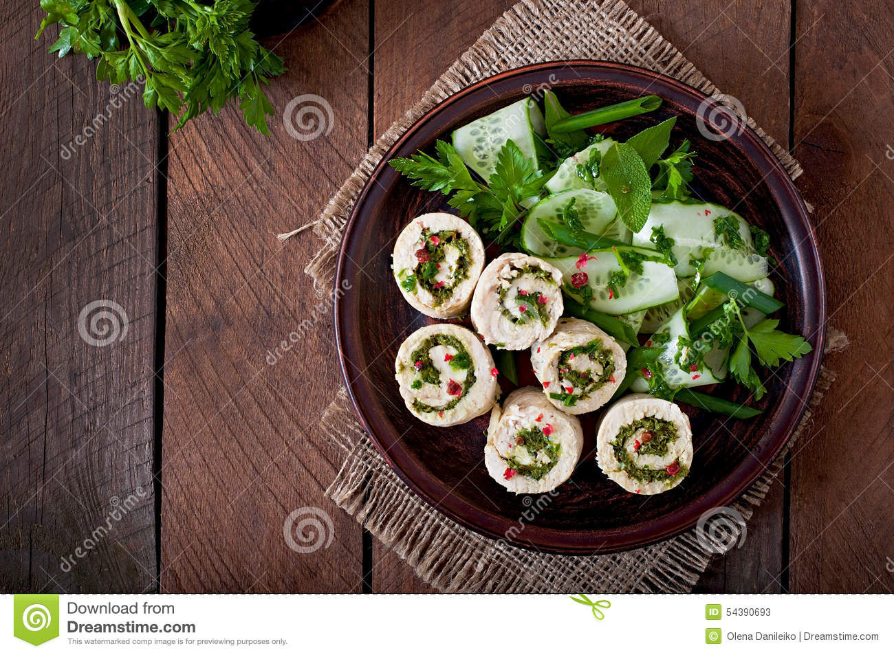 Chicken Rolls With Greens And Fresh Vegetable Salad Stock Photo