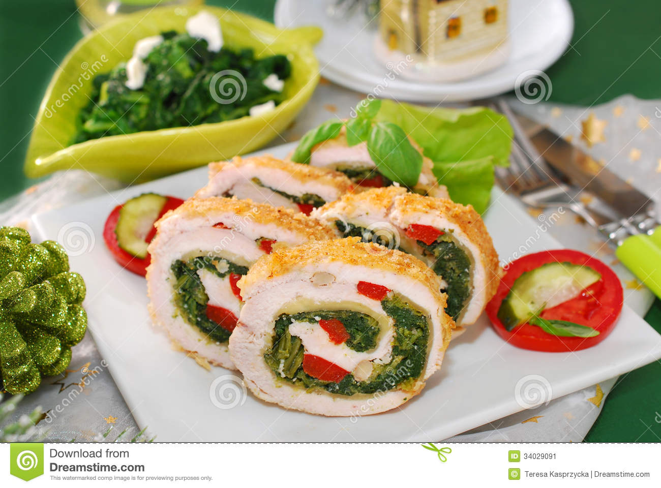 Chicken roulade with spinach,cheese and red pepper for christmas ...
