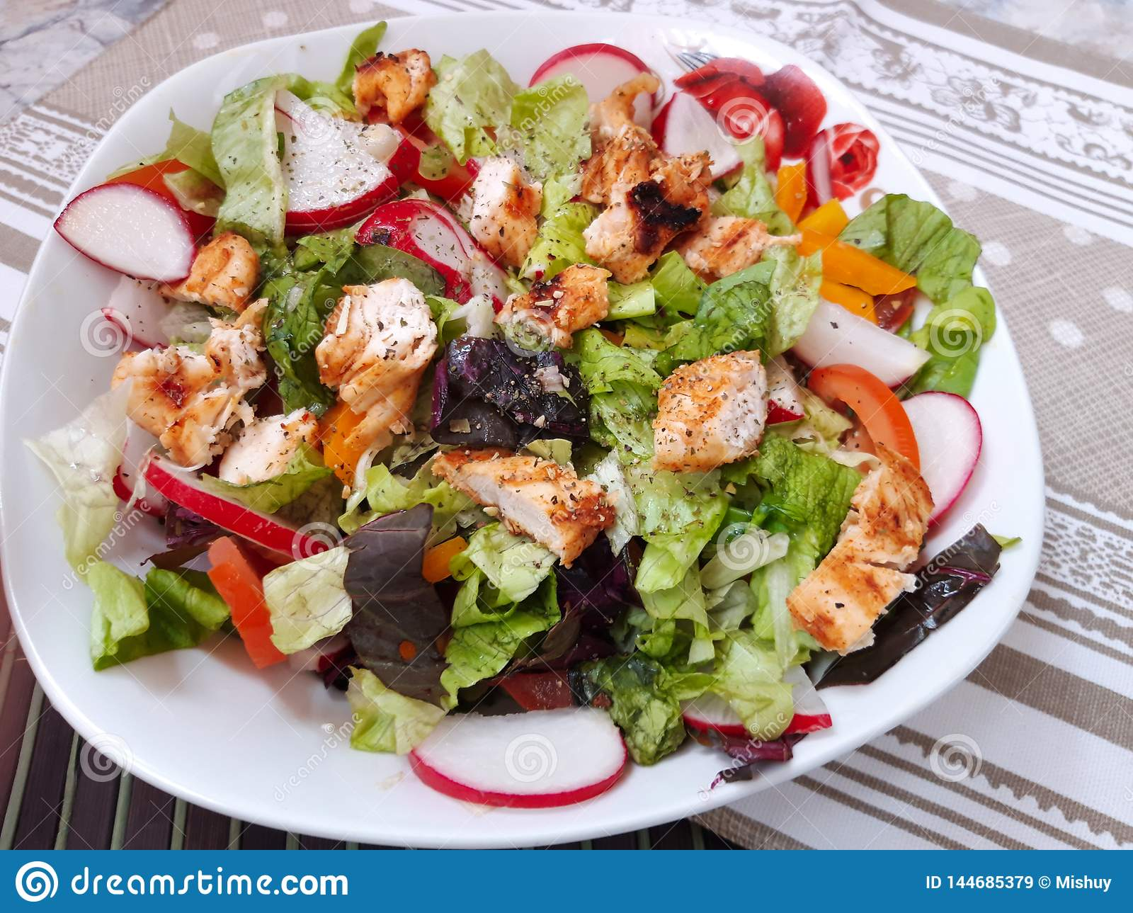 Healthy Chicken salad on plate