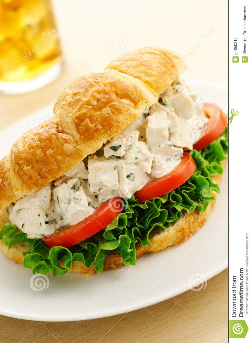 Chicken Salad Croissant Sandwich Stock Photo Image Of Meat Food