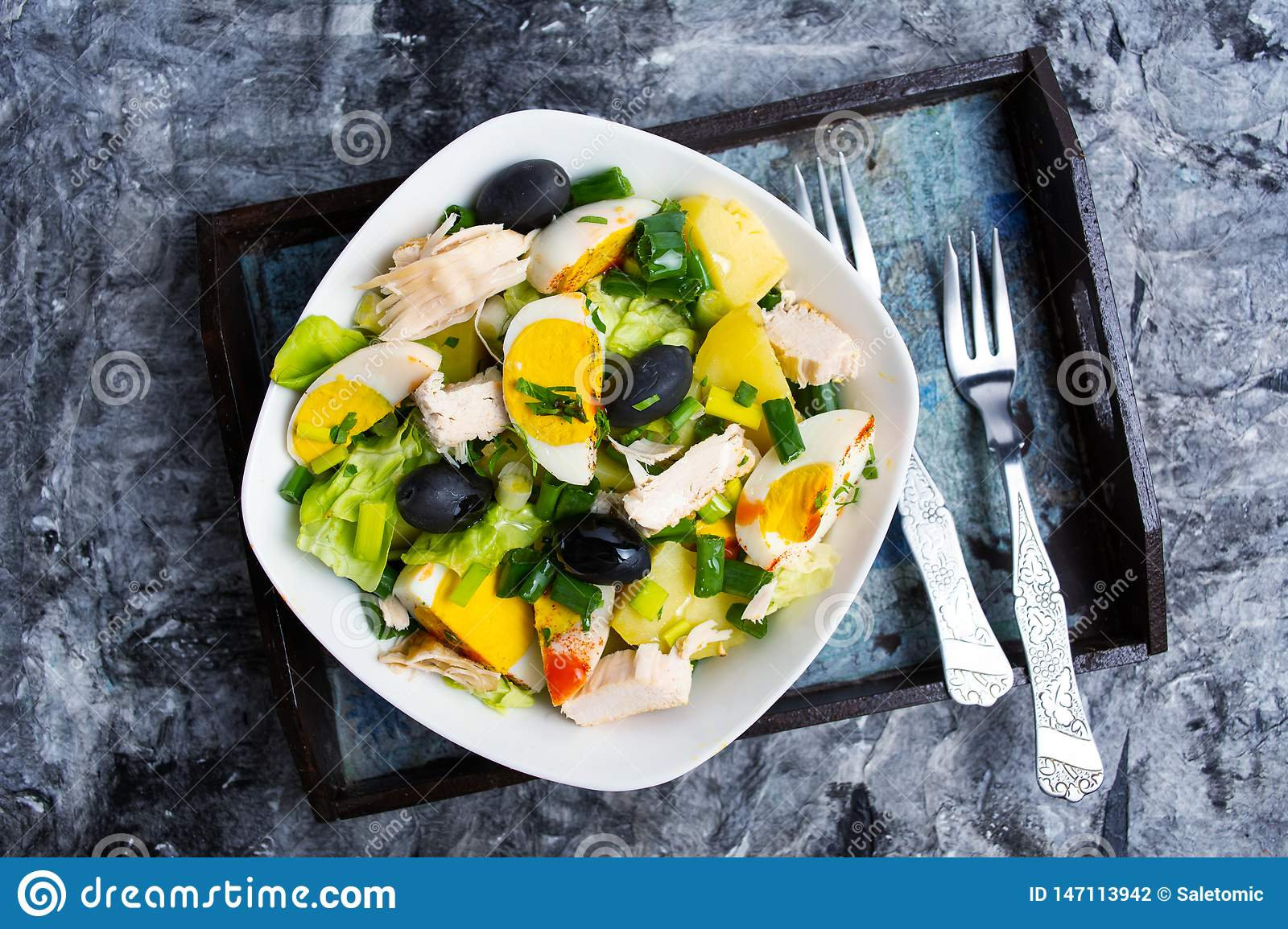 Chicken Salad With Eggs And Vegetables On A Plate Stock Photo Image Of Cheese Food 147113942