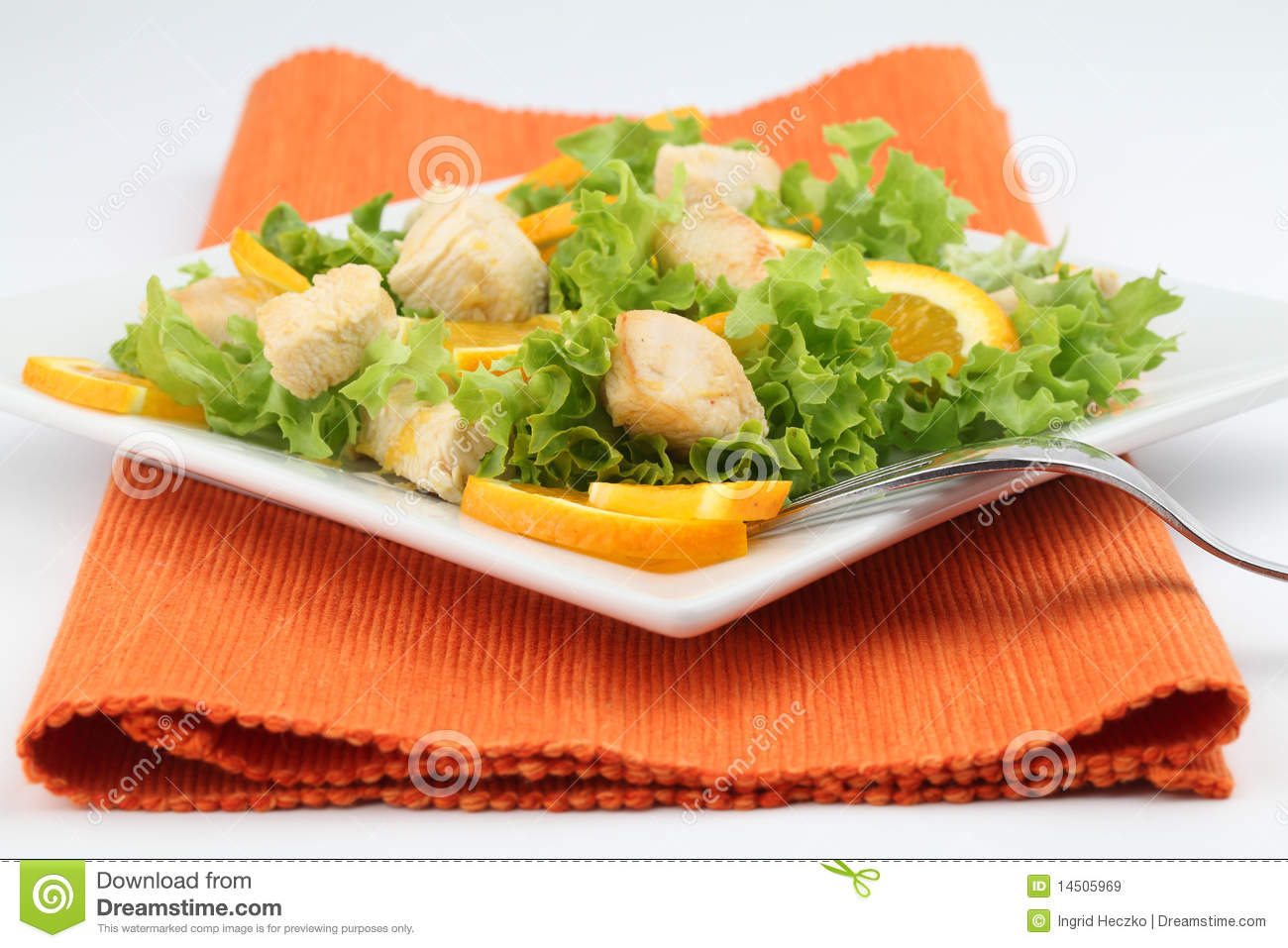 Royalty Free Stock Images: Chicken salad with oranges