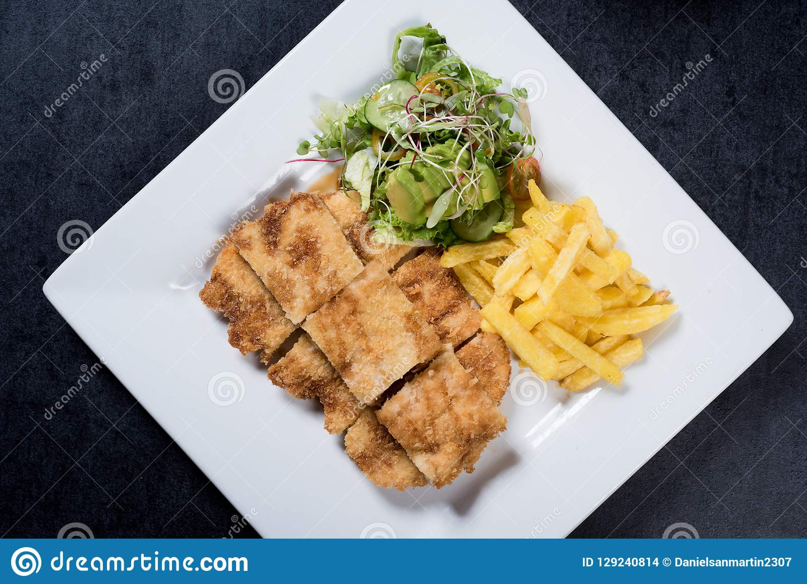 1 081 Chicken Schnitzel Chips Salad Photos Free Royalty Free Stock Photos From Dreamstime