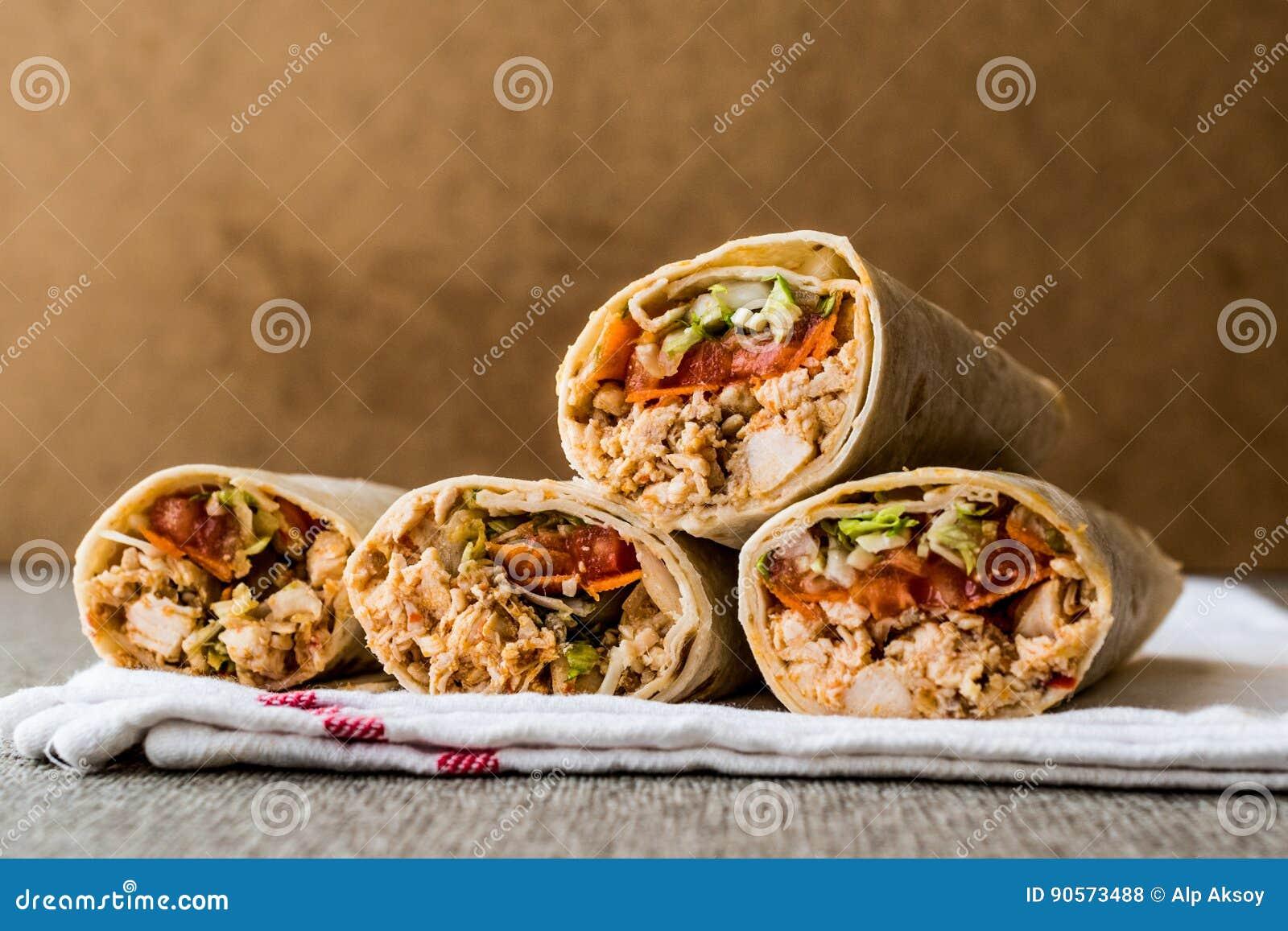 Chicken shawarma durum doner kebab copy space.
