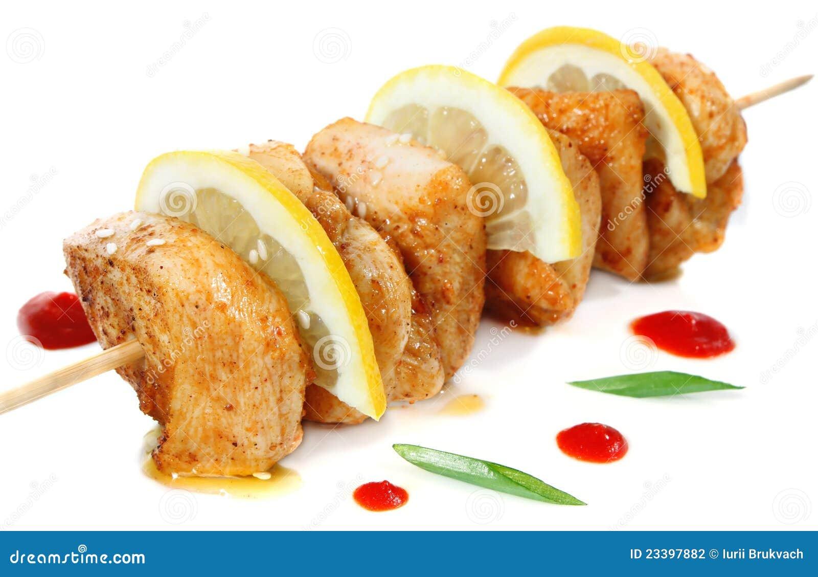 Chicken Shish Kebab With Lemon Stock Photo - Image of ...