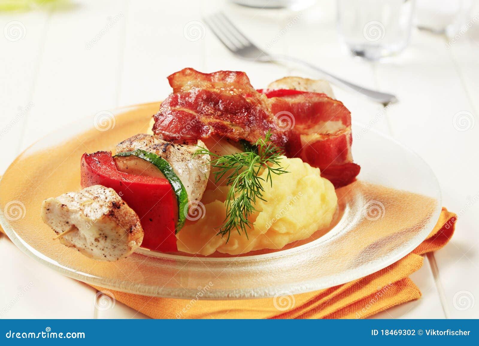 Chicken Shish Kebab And Mashed Potato Stock Photography - Image ...