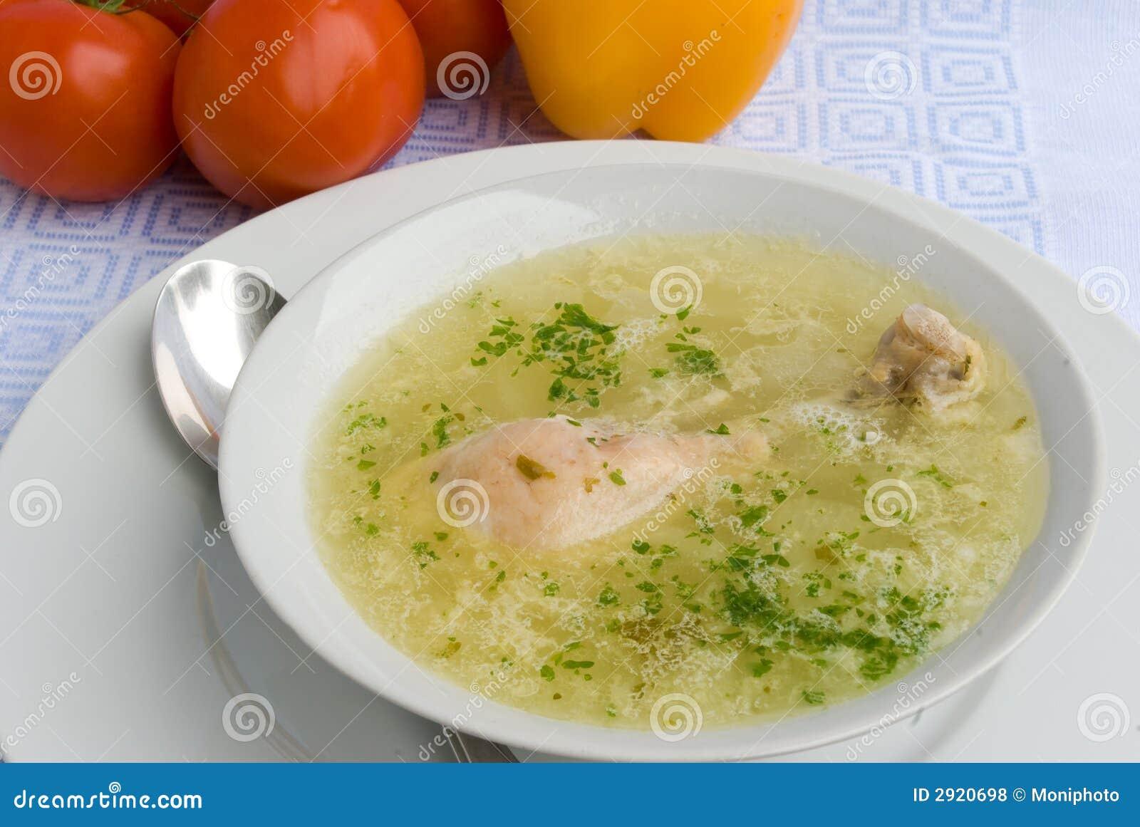 Chicken soup with chicken leg