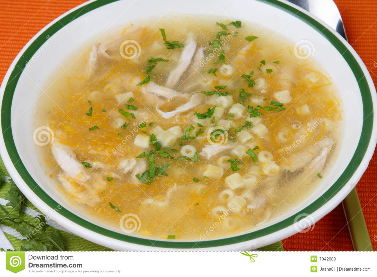 Chicken soup with meat