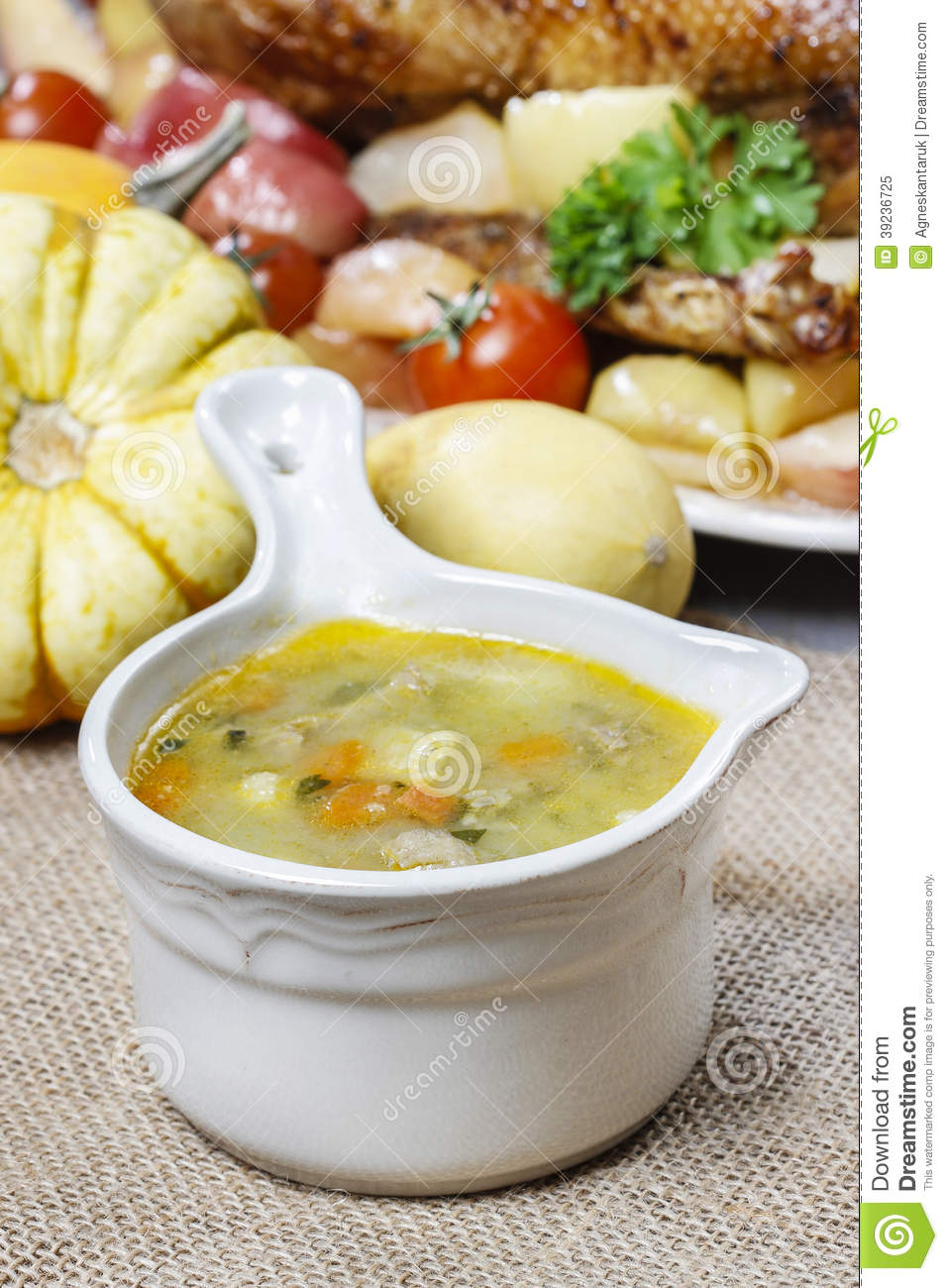Chicken soup with noodle and vegetables stock photo for What vegetables to put in chicken noodle soup