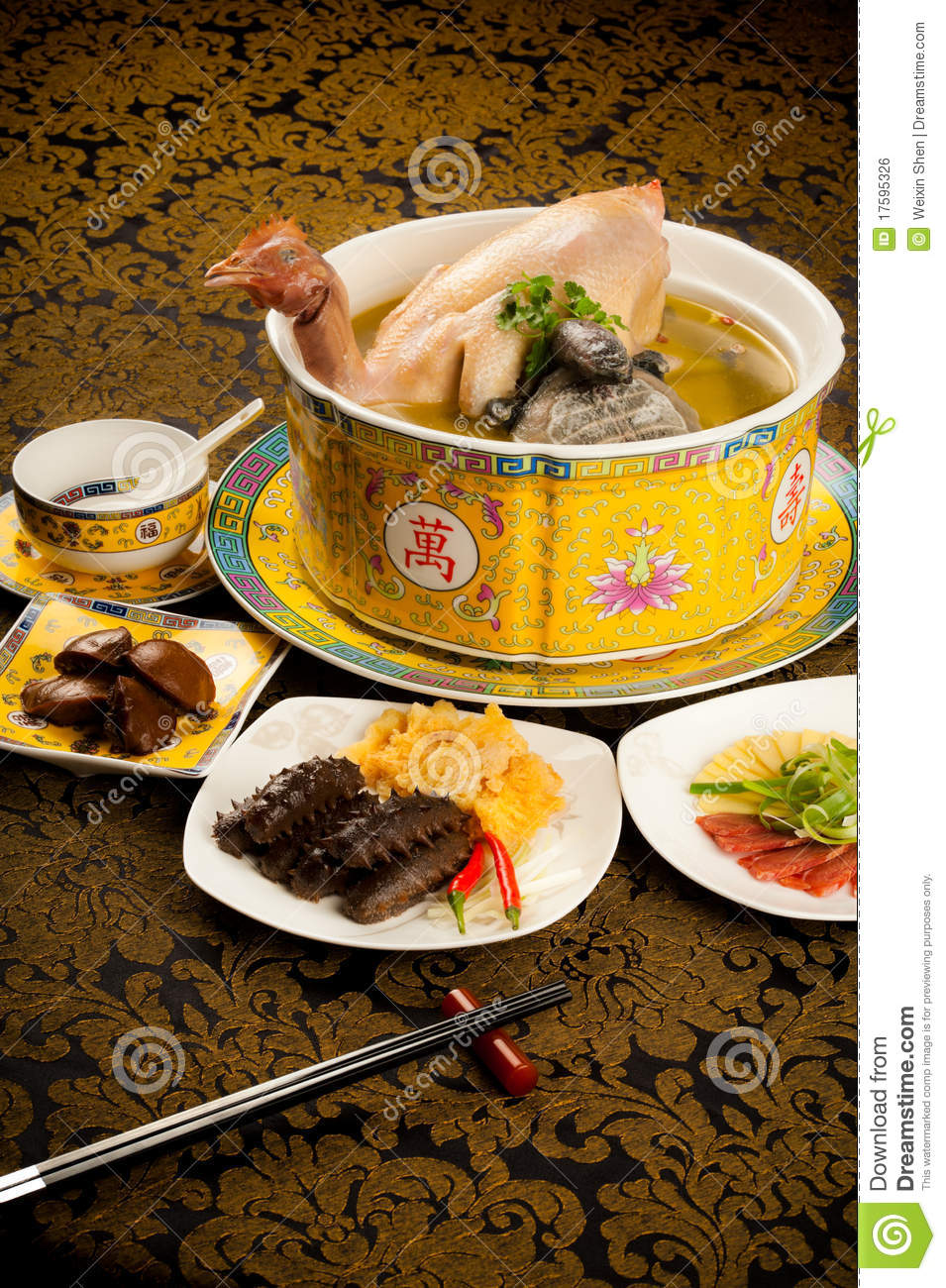 Chicken Soup In The Pot With Food Stuff Royalty Free Stock ...