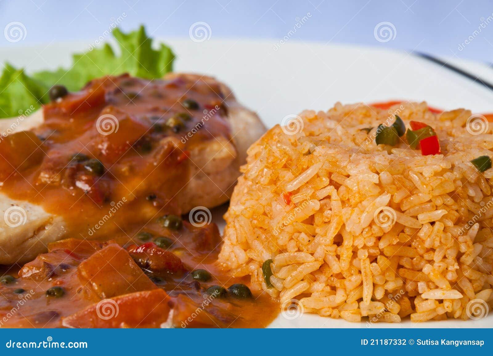 Chicken steak with fired rice