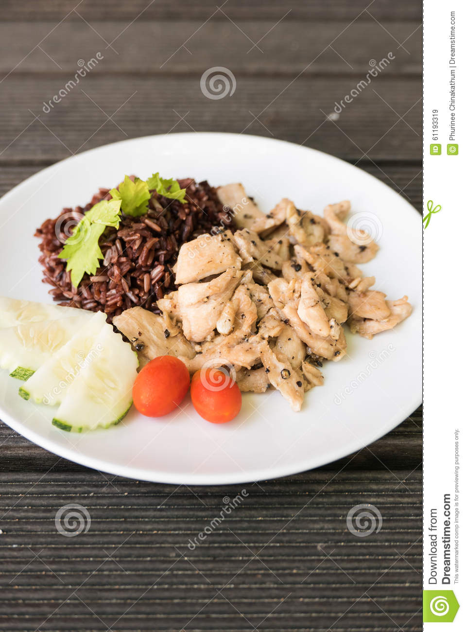 Chicken Stir Fried With Garlic And Pepper Stock Photo - Image ...