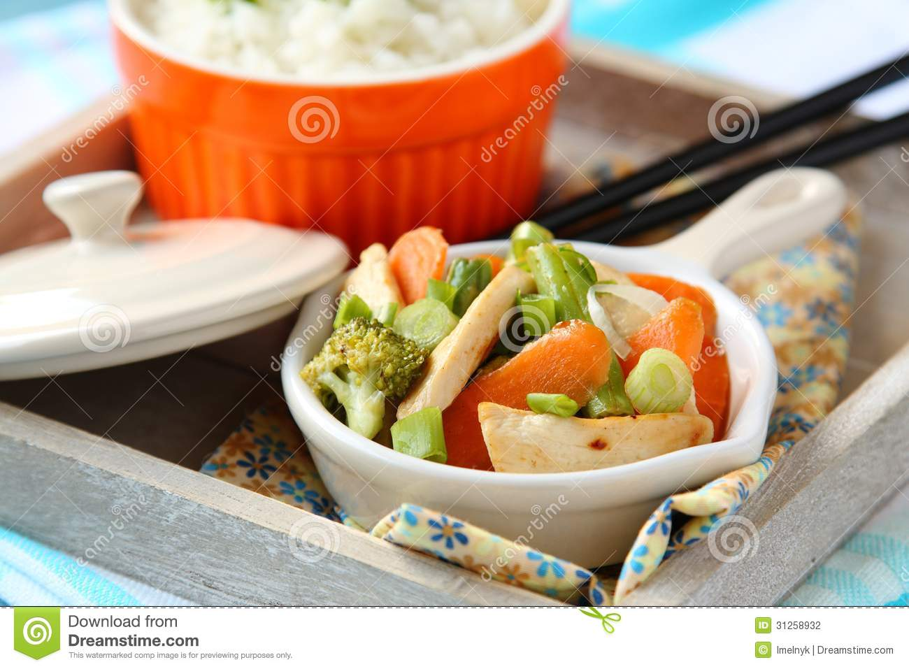 Chicken Stir Fry With Vegetables And Rice Stock Photography - Image ...