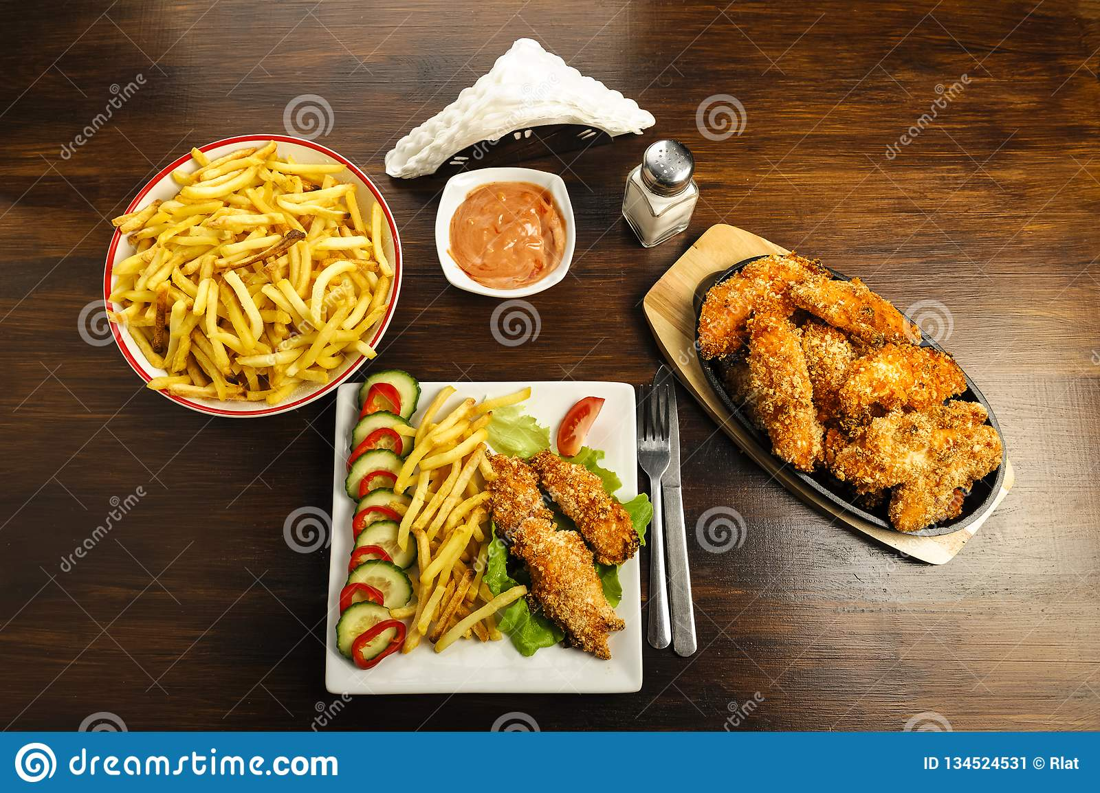 Chicken strips and fries