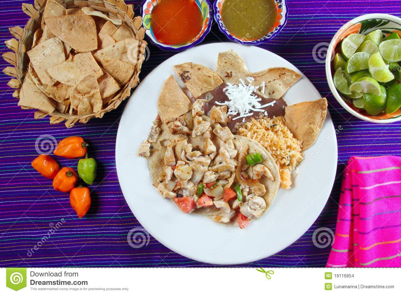 Chicken Tacos Mexican Style Chili Sauce And Nachos Stock Images ...