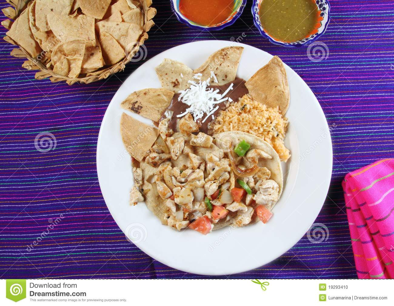 Chicken Tacos Mexican Style Chili Sauce And Nachos Stock Photo - Image ...