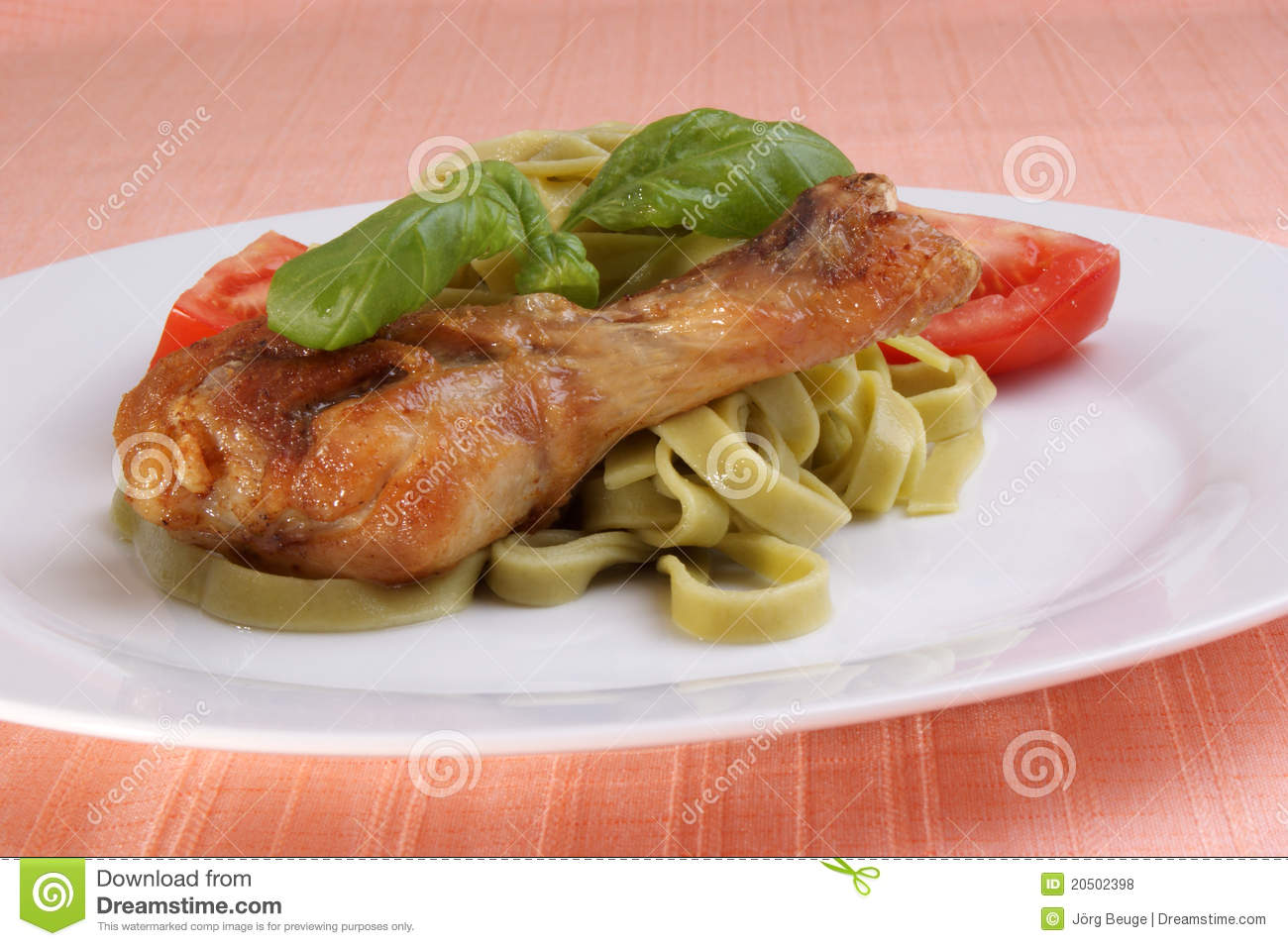 Chicken Thigh On Tagliatelle With Basil Royalty Free Stock Photos ...