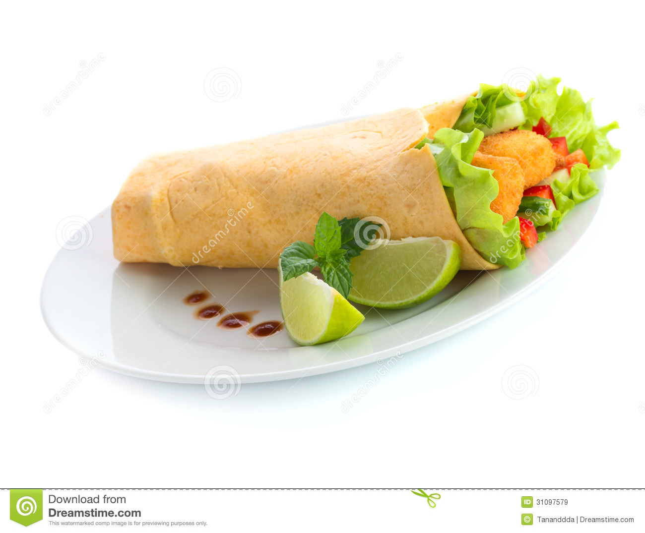 Chicken Tortilla Wrap With Lime And Chili Sauce Royalty Free Stock ...