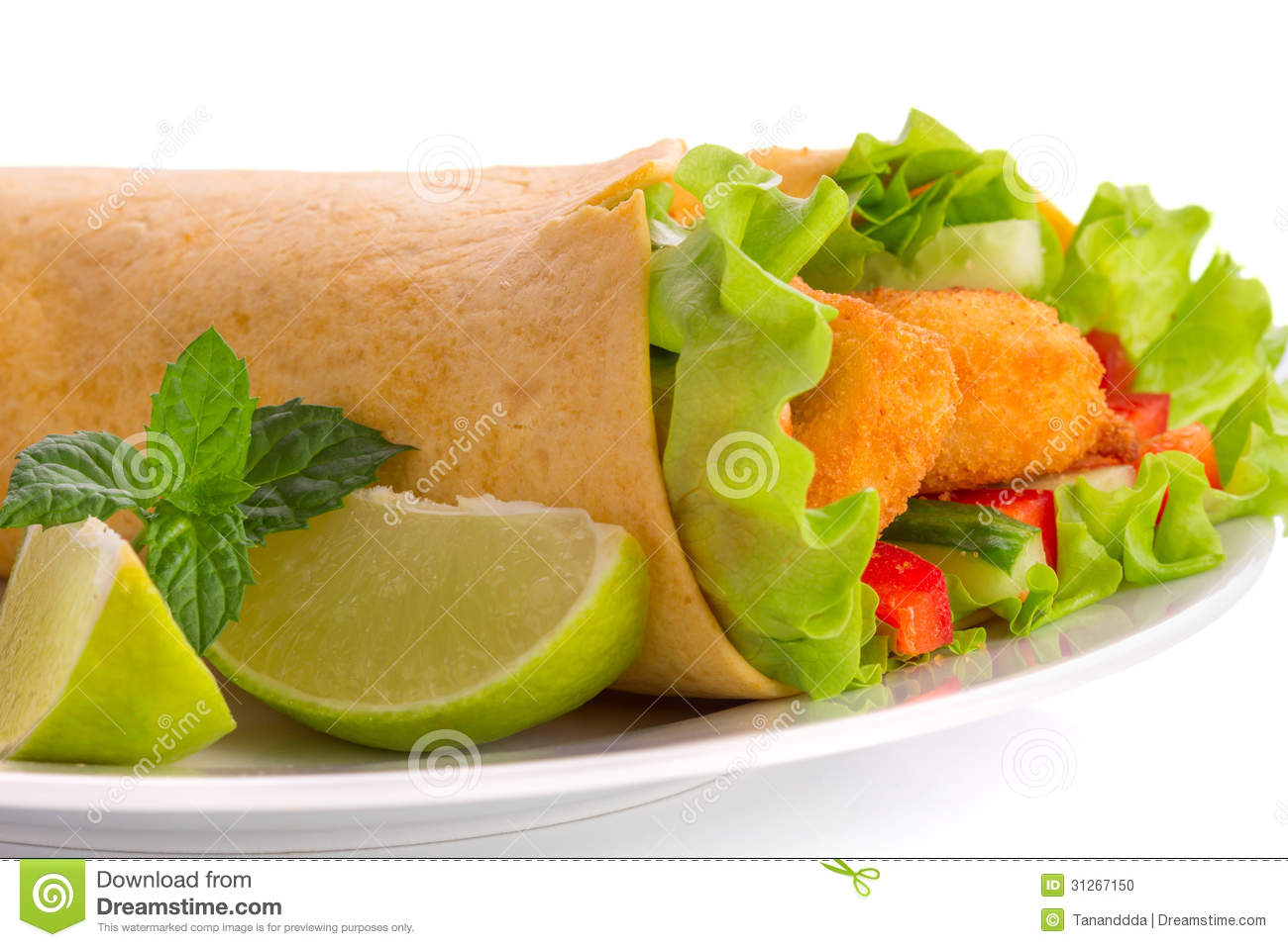 Chicken Tortilla Wrap With Lime And Chili Sauce Stock Photo - Image ...