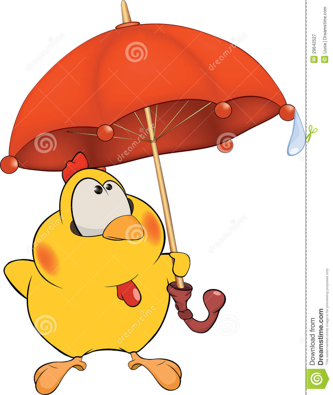 Chicken And An Umbrella Cartoon Royalty Free Stock Photography - Image ...