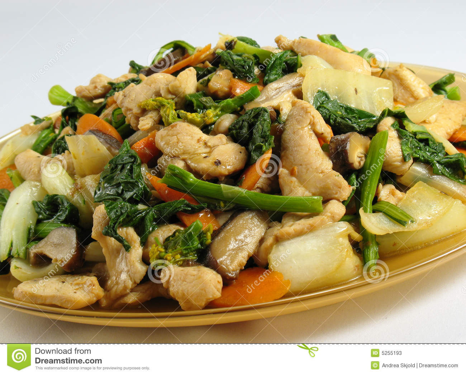 Stir-fried chicken breast with bok choy, yu choy, Chinese black ...