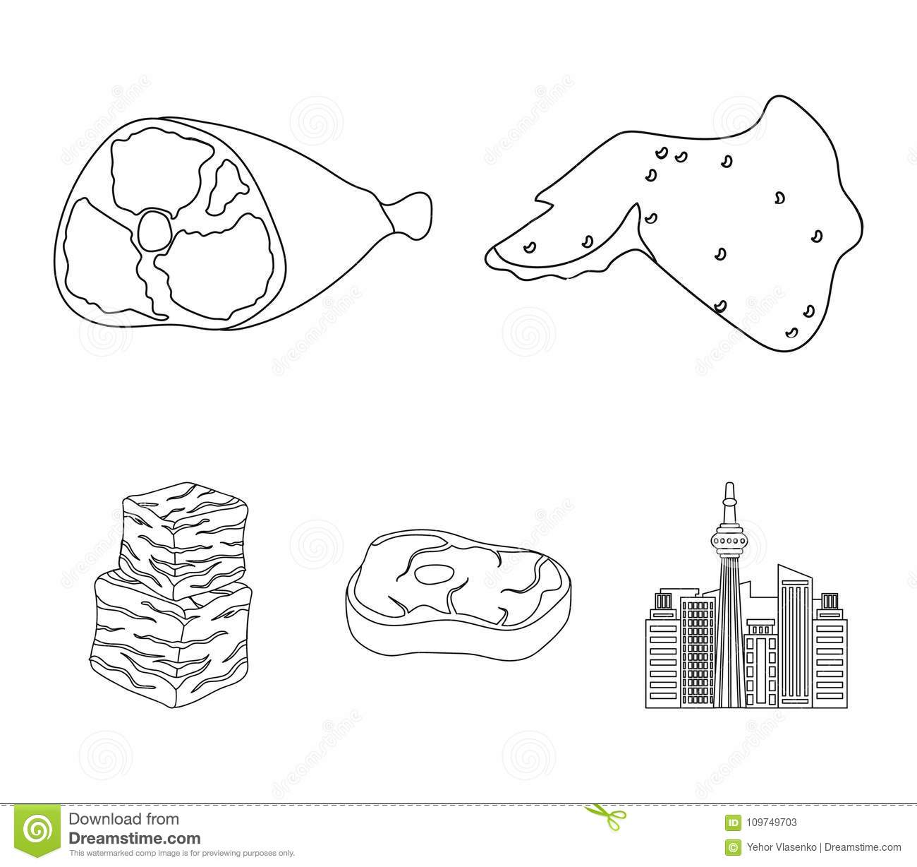 chicken wings, ham, raw steak, beef cubes  meat set collection icons in