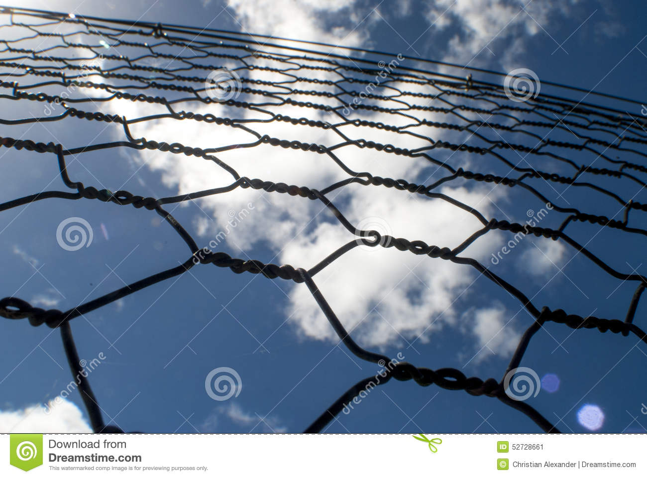 Chicken wire fence stock image. Image of blue, security - 52728661