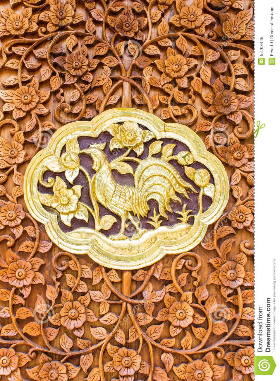 Chicken Wood Carving Wall Sculptures In Thai Temple Stock Image ...