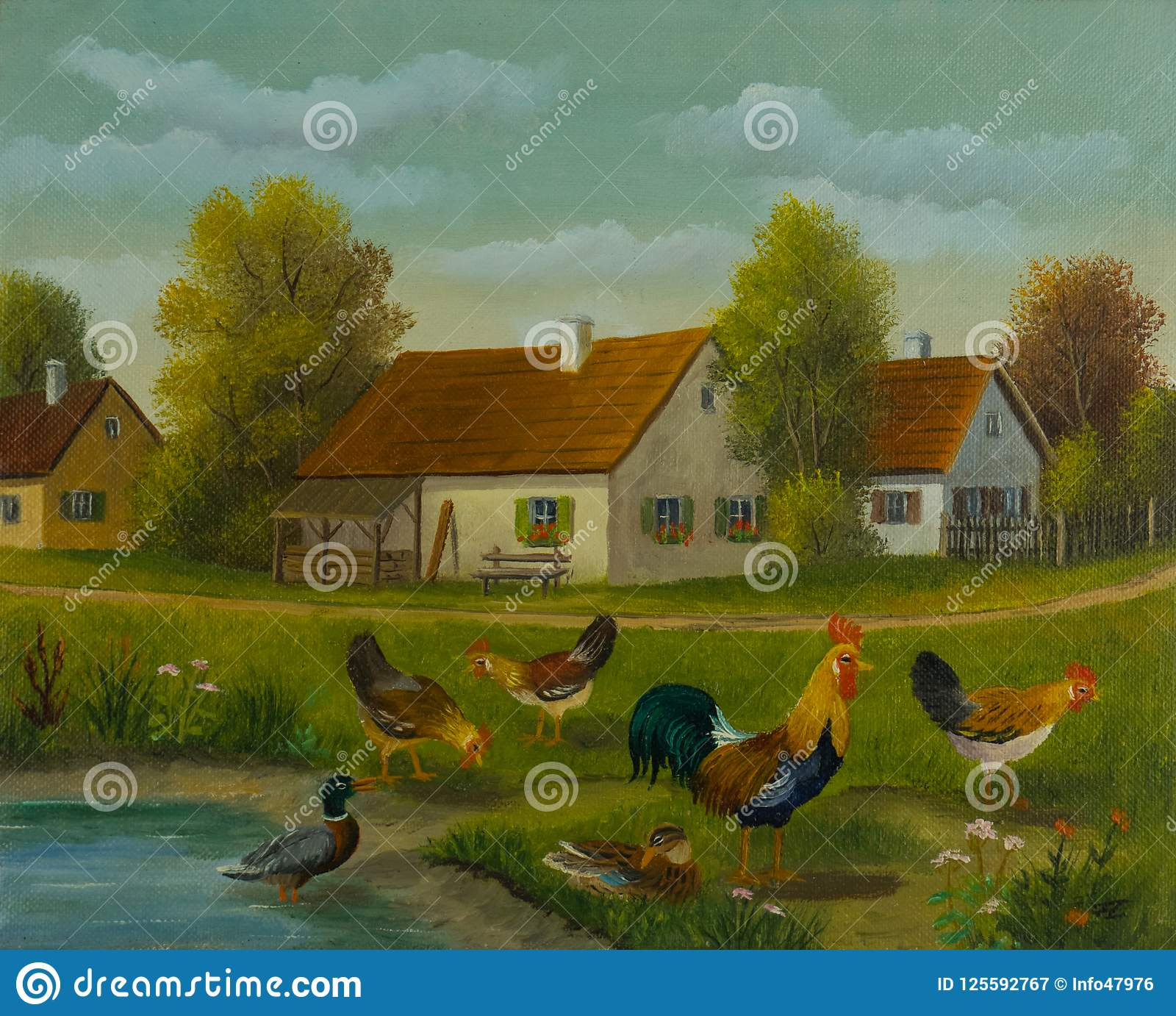 Chickens and ducks at a pond in front of three houses