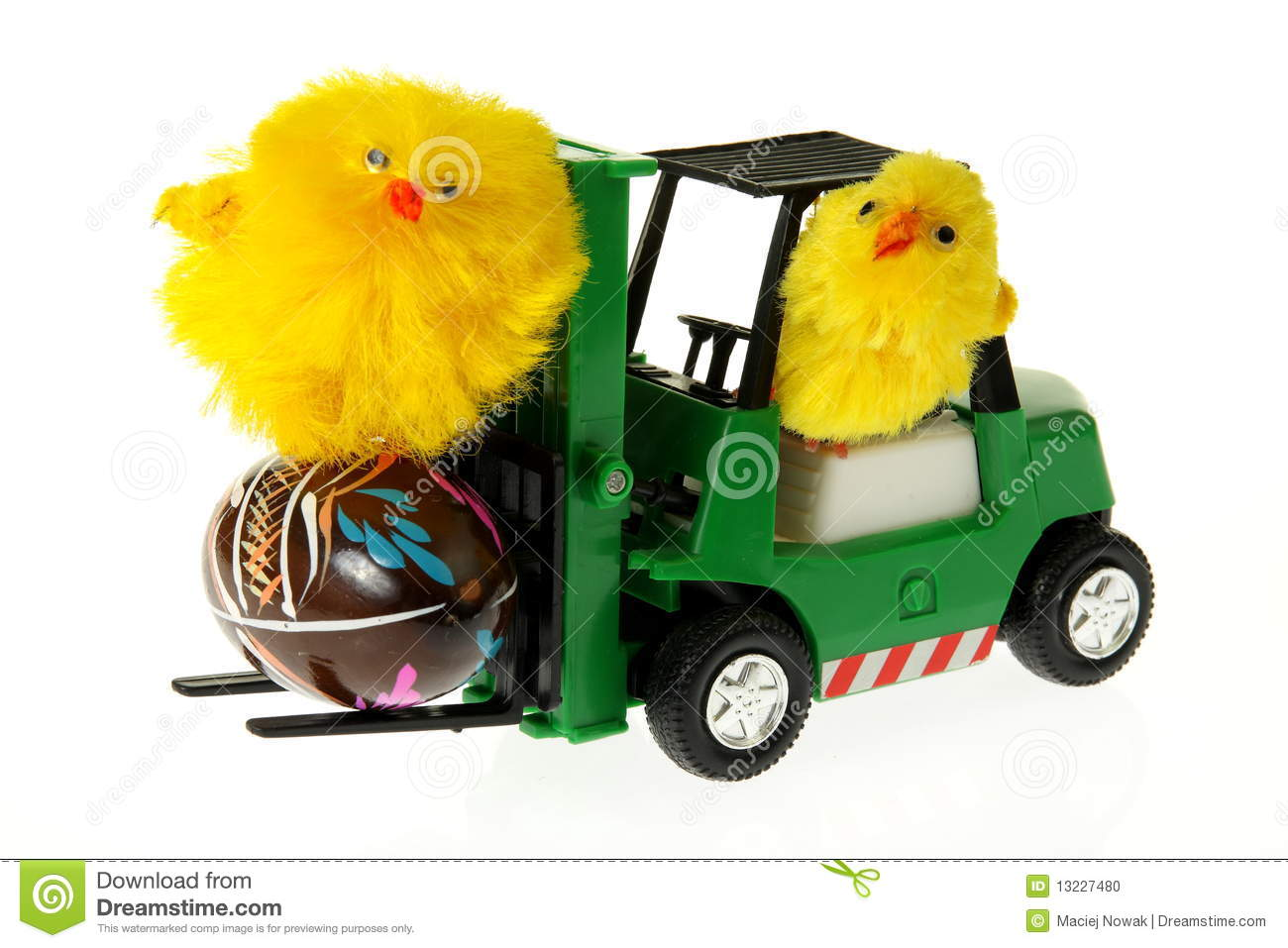 Chickens On A Forklift With Easter Egg Stock Photo - Image: 13227480