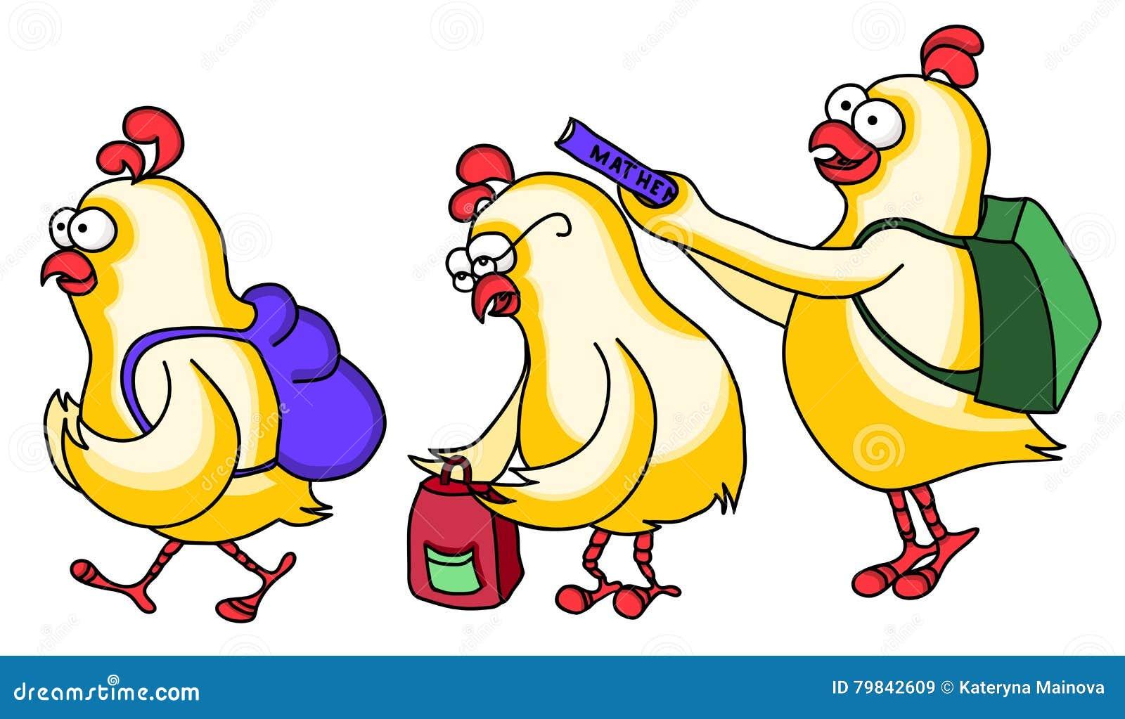 Funny Chicken Cartoons: Chickens Go To School. Stock Vector. Illustration Of Bully