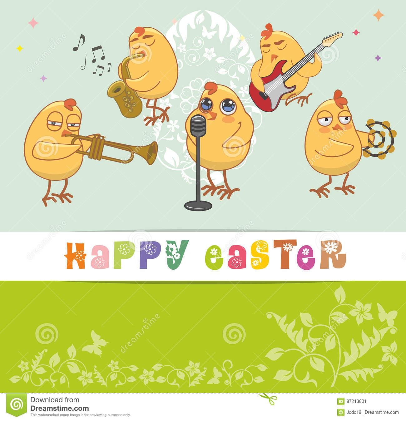 Chickens musicians greet with a happy easter stock vector chickens musicians greet with a happy easter m4hsunfo
