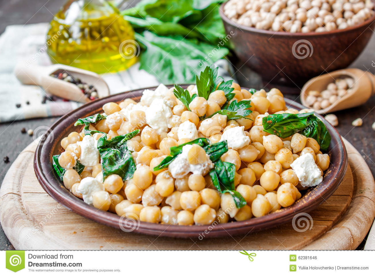 Chickpeas With Spinach And Feta Stock Photo - Image: 62381646