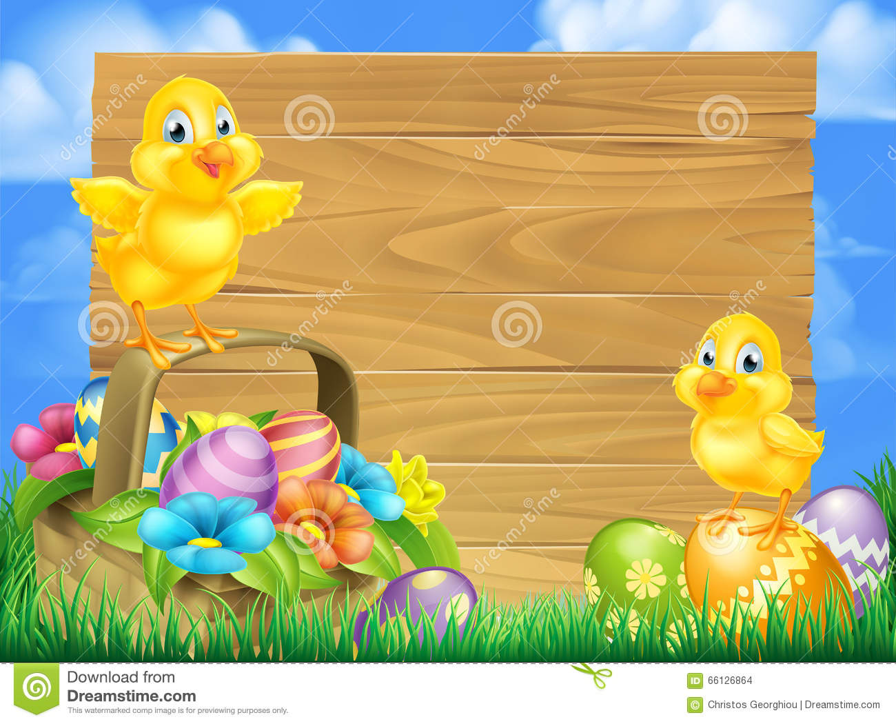 chicks and easter eggs basket sign stock vector