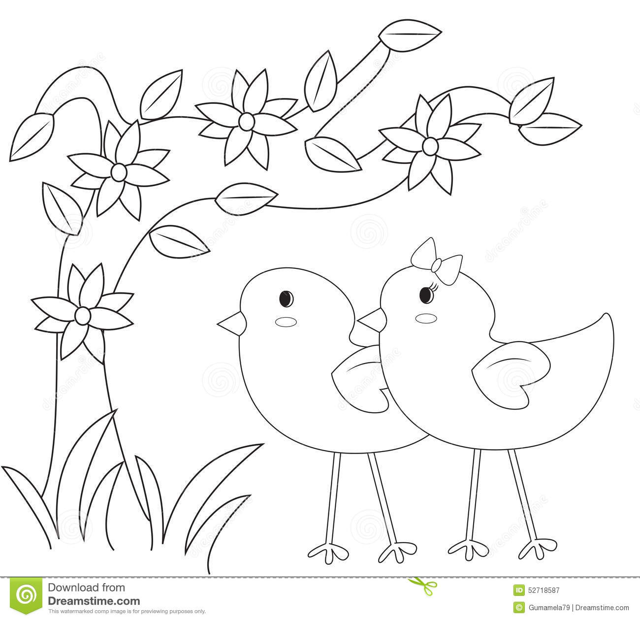 in the garden coloring page stock illustration image