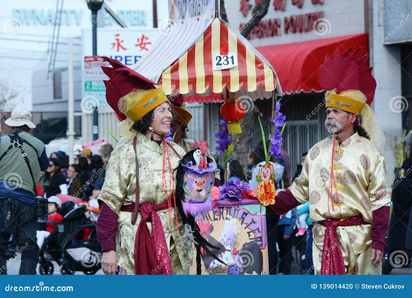 Chico McRooster на параде Нового Года Лос-Анджелеса китайском