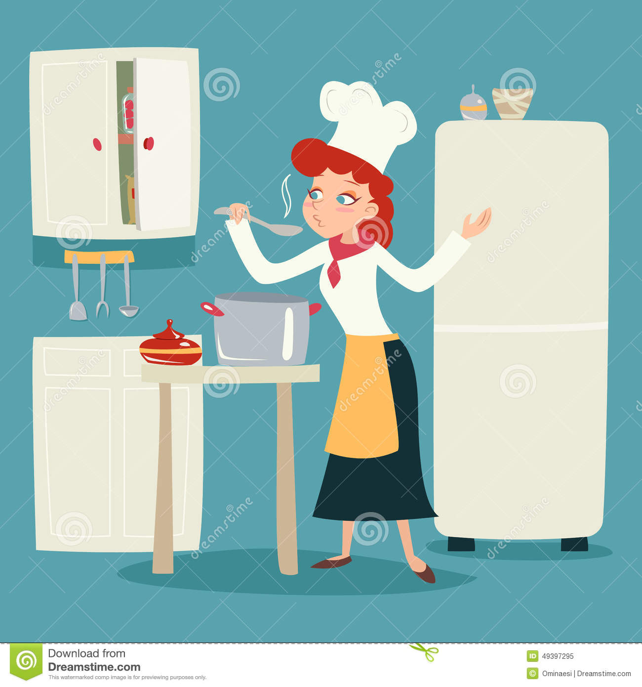 A Kitchen With Vintage Character: Chief Cook Happy Smiling Female Character Serving Stock