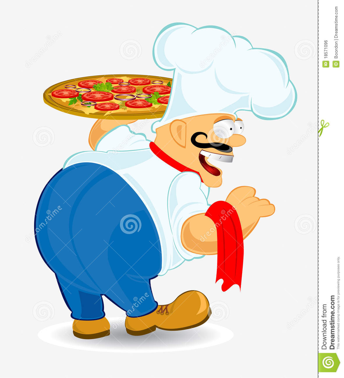 Chief Cook Pizza Stock Vector. Illustration Of Cooks