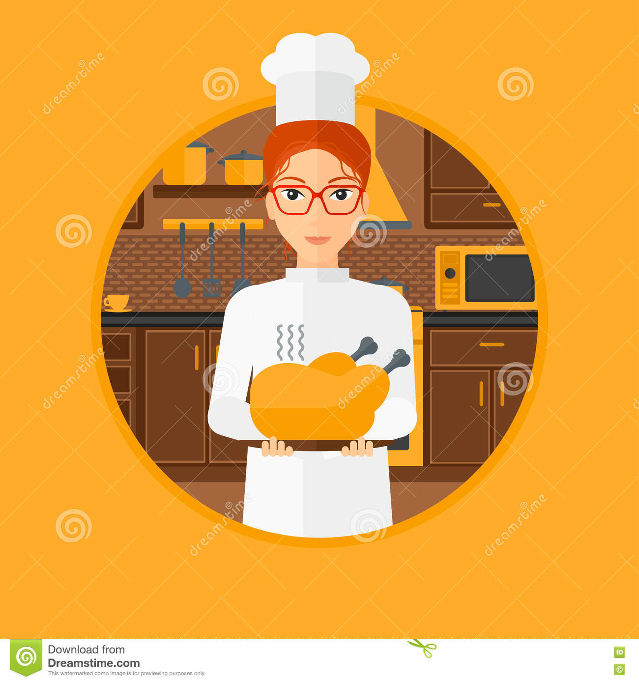 Chief Cooker Holding Roasted Chicken. Cartoon Vector