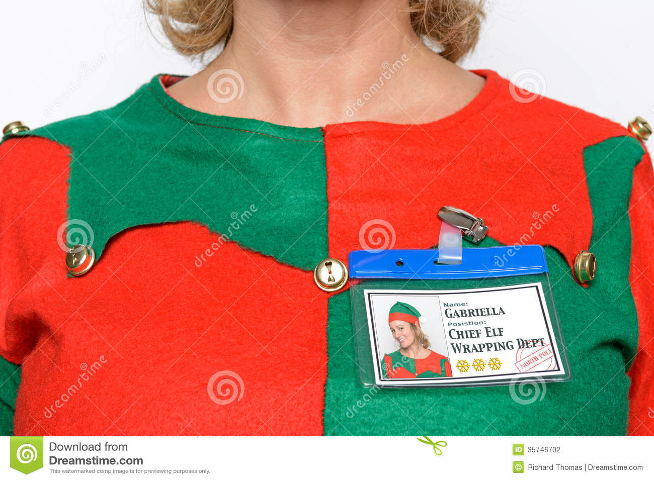 chief elf name tag stock photo  image of close  person