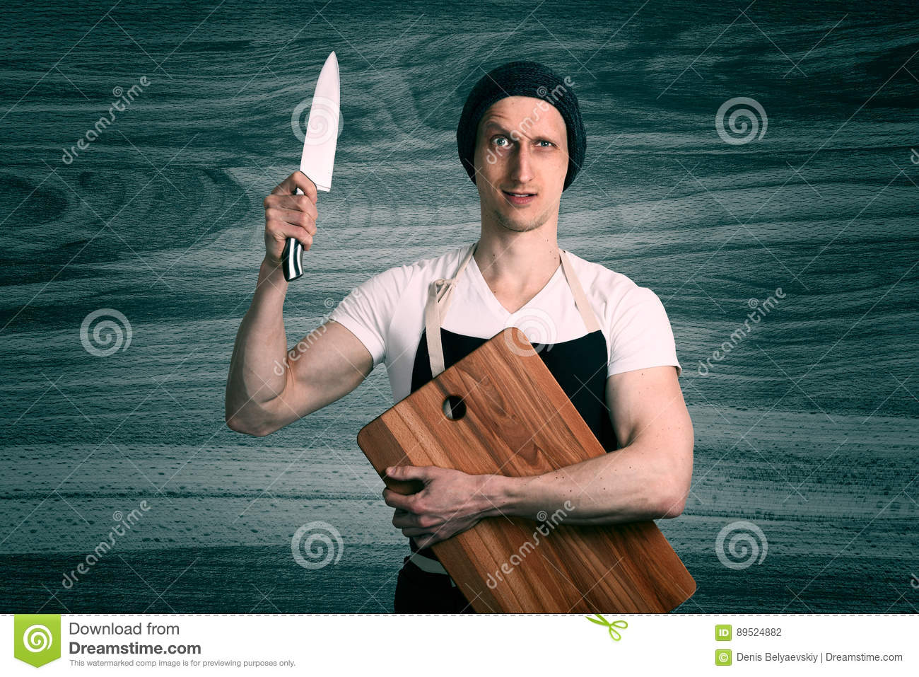 chef with a knife stock photo image of contact knife 89524882. Black Bedroom Furniture Sets. Home Design Ideas