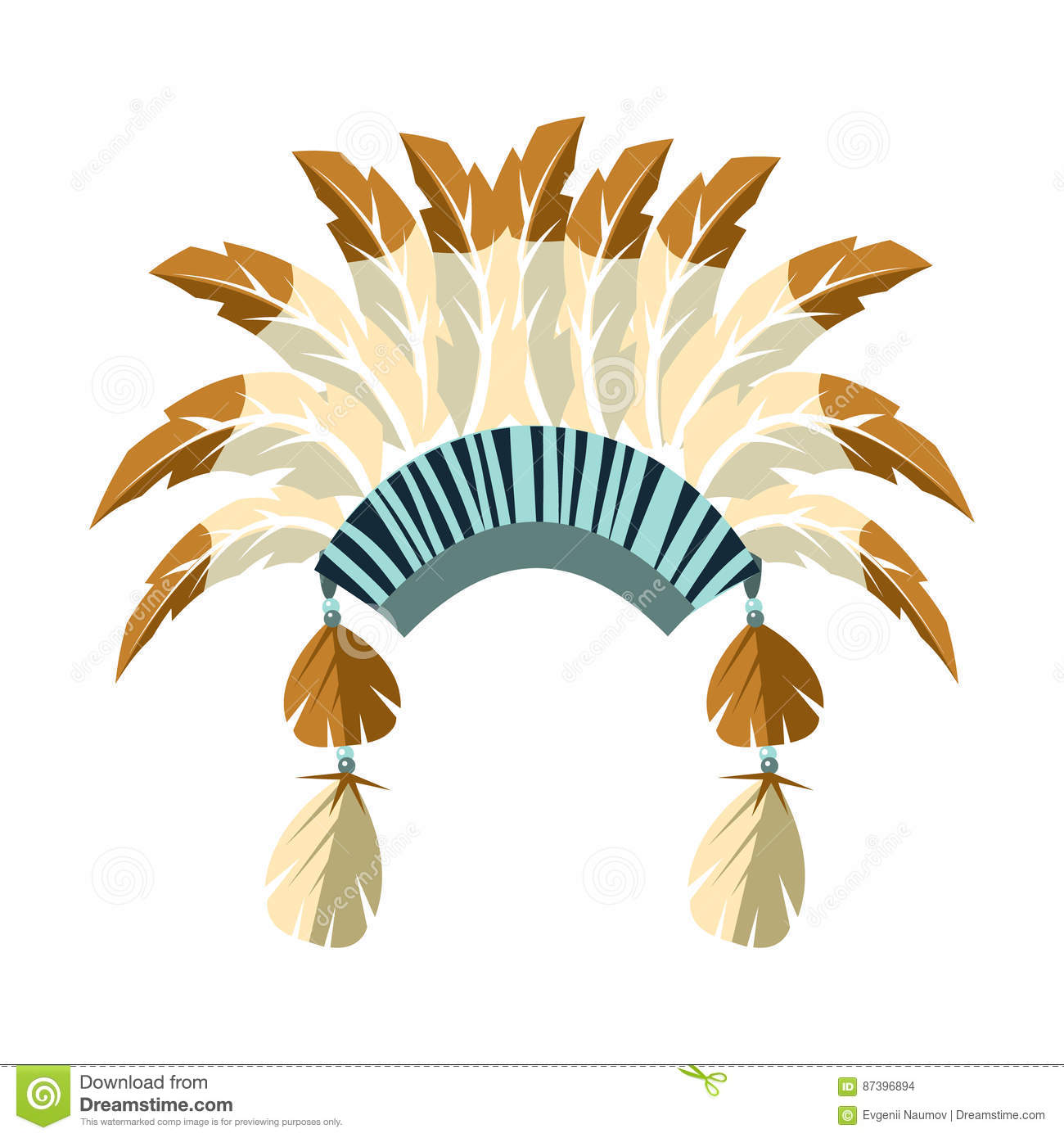 Chiefs War Bonnet With Feathers Native American Indian Culture