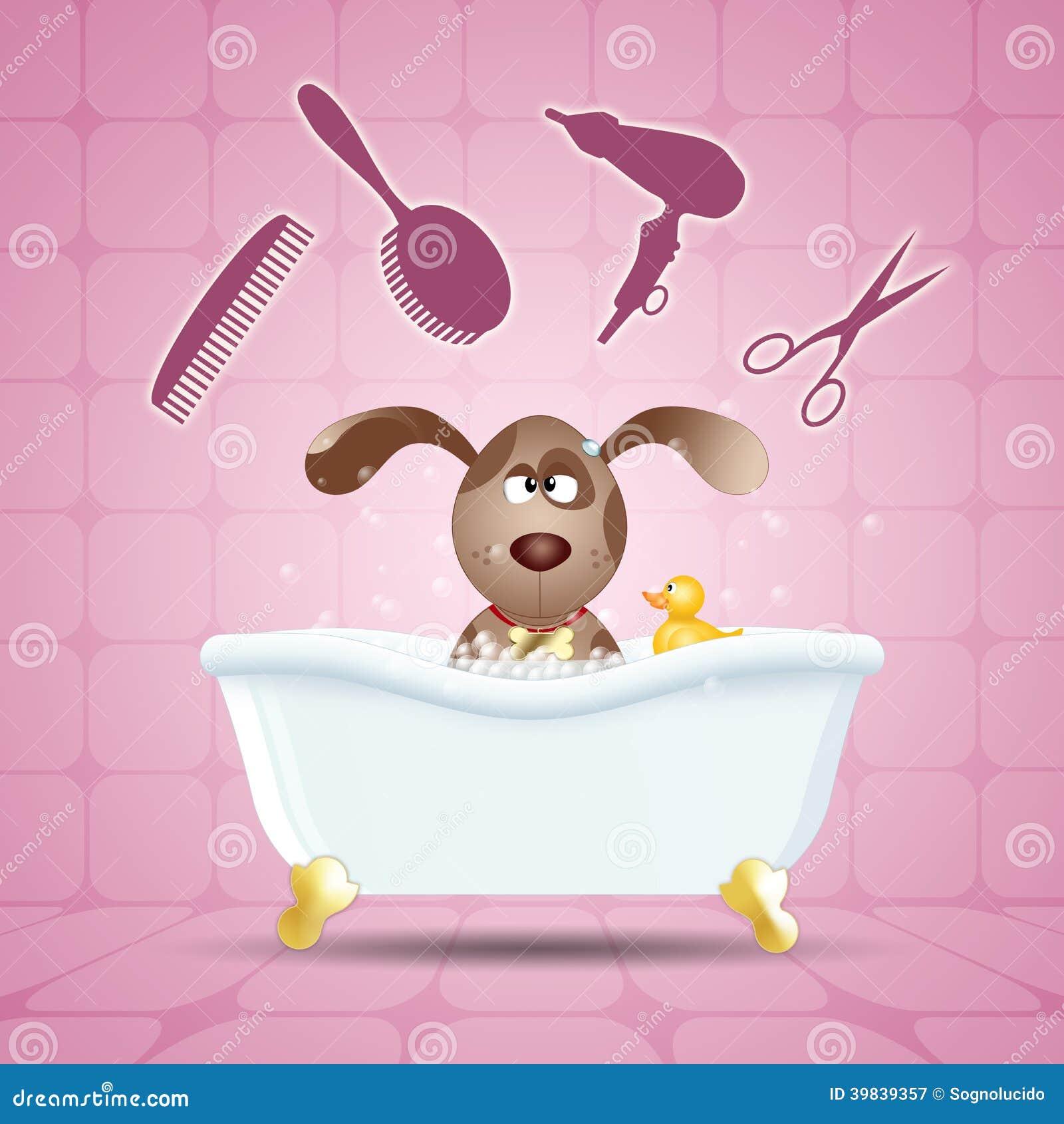 chien dans le bain pour le toilettage illustration stock. Black Bedroom Furniture Sets. Home Design Ideas